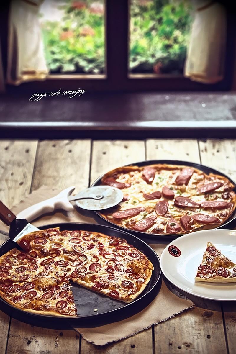 意式香肠双拼披萨